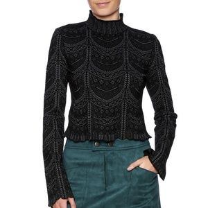 Cinq a Sept Scalloped Knit Top Medium Black